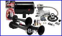 Kleinn HK3-1 Universal Black Triple Train Horn & 130 PSI Air Compressor 148dB