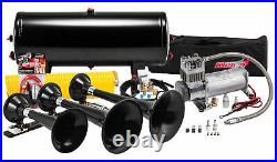 Kleinn HK7 Universal Black Triple Train Horn Kit & 150 PSI Air Compressor 150dB