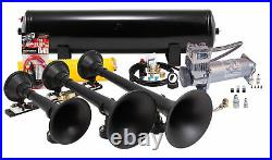 Kleinn HK9-Slimline Black Triple Train Horn Kit & 150 PSI Air Compressor 157dB